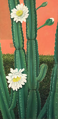 Painting - Flowering Cactus by Laura Dozor