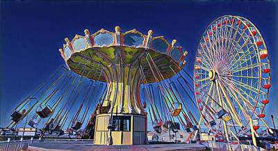 Surrealism Digital Art - Flying Chair Ride at Wonderland by Surreal Jersey Shore