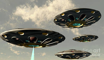 Vintage Movie Stars Royalty Free Images - Flying Saucers Royalty-Free Image by Corey Ford