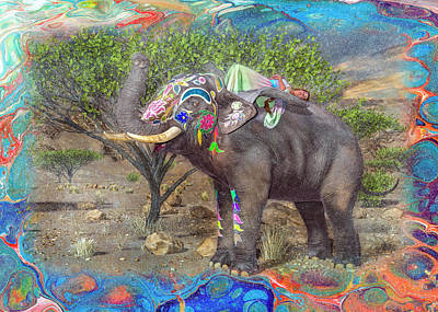 Animals Digital Art - Friendship Elephant Daydreaming Fairy by Betsy Knapp