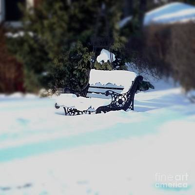 Frank J Casella Royalty-Free and Rights-Managed Images - Frozen Bench by Frank J Casella