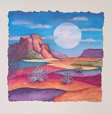 Mixed Media - Full Desert Moon by Terry Ann Morris