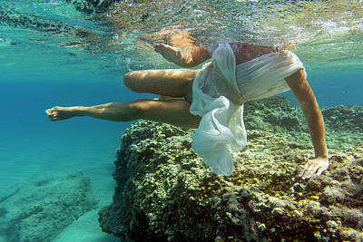 Photograph - Girl with white clothes underwater by Manolis Tsantakis