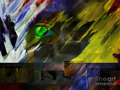 Surrealism Royalty-Free and Rights-Managed Images - Green Eye Abstract by Bruce Rolff