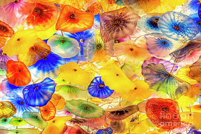 Photograph - Hand blown Glass Ceiling in the Bellagio Hotel and Casino Lobby, by Bryan Mullennix