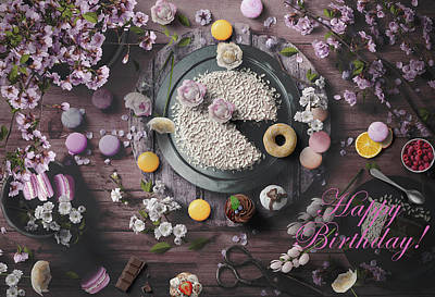 Abstract Shapes Janice Austin - Happy Birthday With Cake And Flowers by Johanna Hurmerinta