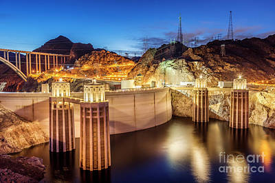 Photograph - Hoover Dam at Night Las Vegas, Nevada by Bryan Mullennix