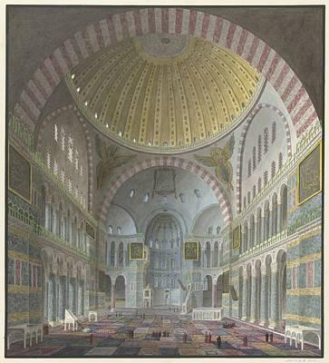 Pasta Al Dente - Interior of the Aya Sophia with kneeling and standing Turks, George Antoine Prosper Marilhat, 1821 - by Artistic Rifki