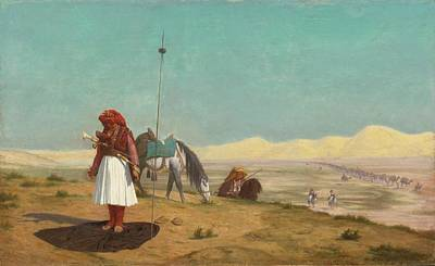 Owls - JEAN-LEON GEROME French 1824 - 1904 PRAYER IN THE DESERT by Artistic Rifki