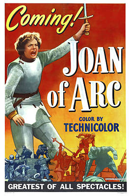 Typography Tees - Joan of Arc, with Ingrid Bergman, 1948 by Stars on Art