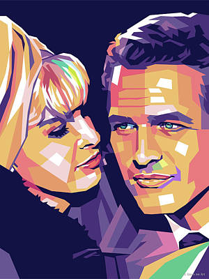 Royalty-Free and Rights-Managed Images - Joanne Woodward and Paul Newman by Stars on Art