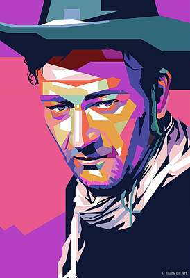 Modern Sophistication Line Drawings - John Wayne by Stars on Art