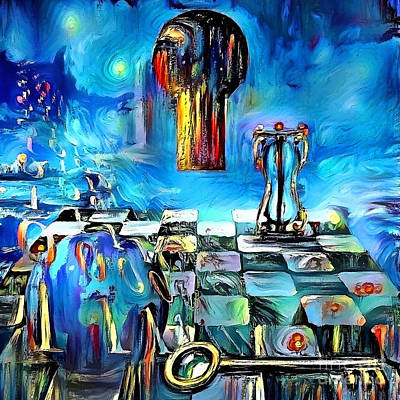 Surrealism Royalty-Free and Rights-Managed Images - Keyhole and binary code by Bruce Rolff