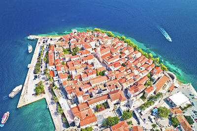 Door Locks And Handles - Korcula. Historic town of Korcula aerial panoramic view by Brch Photography
