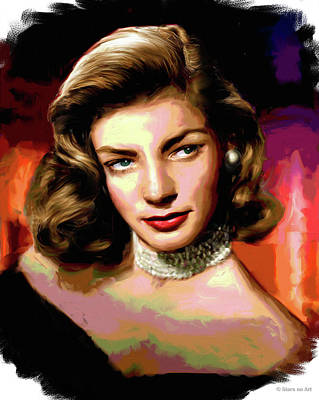Curated Round Beach Towels - Lauren Bacall by Stars on Art