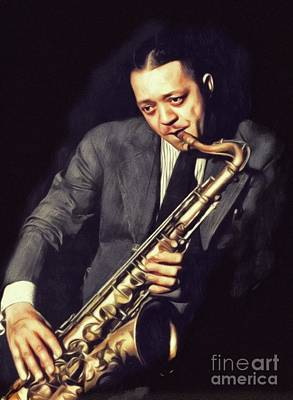 Painting Royalty Free Images - Lester Young, Music Legend Royalty-Free Image by John Springfield