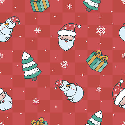 Royalty-Free and Rights-Managed Images - Minimalistic christmas red pattern by Julien
