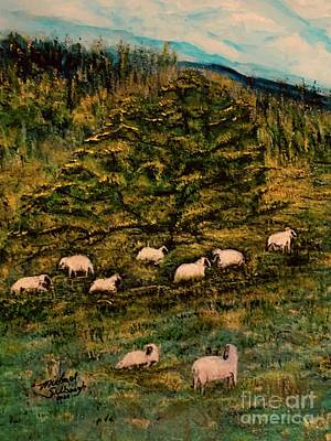 Sports Paintings - Mission Ranch Sheep Sheltered by Michael Silbaugh