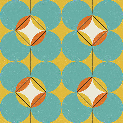 Royalty-Free and Rights-Managed Images - Modern abstract seamless geometric pattern with semicircles and circles in retro scandinavian style by Julien