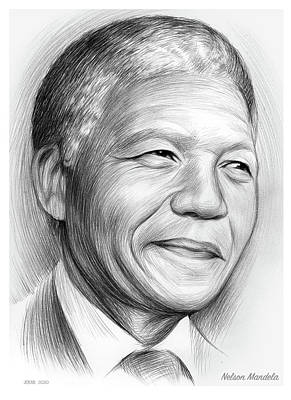 Drawings Royalty Free Images - Nelson Mandela Royalty-Free Image by Greg Joens