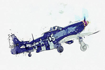 Staff Picks Cortney Herron - North American P-D Mustang FG USAAF Frenesi Vintage Aircraft - Classic War Birds - Planes watercolor by Celestial Images