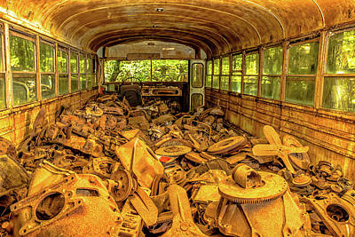 Winter Animals Rights Managed Images - Old School Bus with Used Parts at Old Car City Royalty-Free Image by Peter Ciro