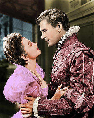 Popstar And Musician Paintings - Olivia de Havilland and Errol Flynn by Stars on Art