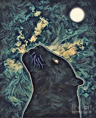 Surrealism Royalty-Free and Rights-Managed Images - Panther Moon by Robert Radmore