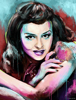 Train Paintings Rights Managed Images - Paulette Goddard Royalty-Free Image by Stars on Art