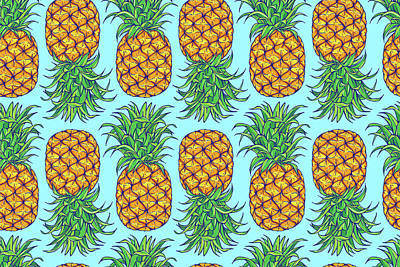 Royalty-Free and Rights-Managed Images - Pineapple seamless pattern. Exotic, summer, tropical fruit. Hand drawn.  by Julien