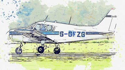 Vintage Movie Stars - Piper PA Cherokee G-GFZG war planes in watercolor ca by Ahmet Asar by Celestial Images