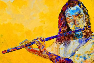 World War Two Production Posters - Playing the flute by Pol Ledent