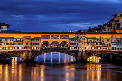Royalty-Free and Rights-Managed Images - Ponte Vecchio at Twilight by Andrew Soundarajan