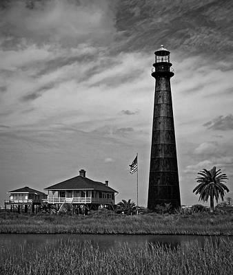 Pasta Al Dente - Port Bolivar Lighthouse Black and White 2 by Judy Vincent