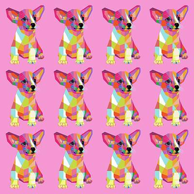 Royalty-Free and Rights-Managed Images - Puppy Pattern WPAP Style Pink background by Ahmad Nusyirwan