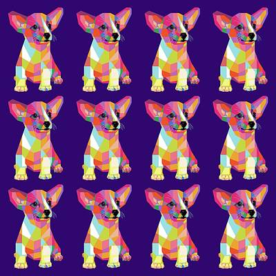 Royalty-Free and Rights-Managed Images - Puppy Pattern WPAP Style Purple background by Ahmad Nusyirwan