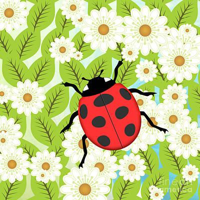 Animals Digital Art - Ladybug on foliage by Gaspar Avila