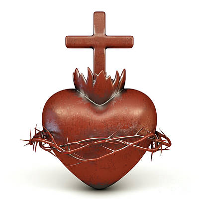 Kitchen Mark Rogan Rights Managed Images - Red Metal Sacred Heart  Royalty-Free Image by Allan Swart