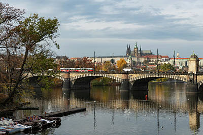 Studio Grafika Typography - River Vltava and castle of Prague on a sunny day in autumn by Stefan Rotter