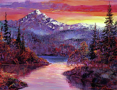 Farm Life Paintings Rob Moline Royalty Free Images - Rocky Mountain Sunset Royalty-Free Image by David Lloyd Glover