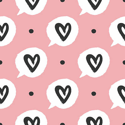 Royalty-Free and Rights-Managed Images - Round dots and bubbles of speech with outlines of hearts seamless pattern by Julien
