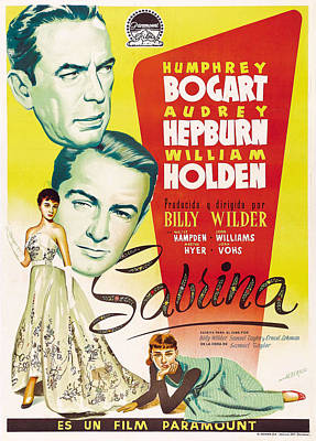 Mixed Media Royalty Free Images - Sabrina, with Humphrey Bogart and Audrey Hepburn, 1954 Royalty-Free Image by Stars on Art