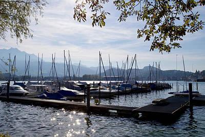 Typographic World - Sailing boats, Lake Lucerne, Lucerne, Switzerland by Joe Vella
