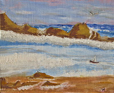 Cartoons Tees - Sailing Monterey Bay by Joyce Dickens