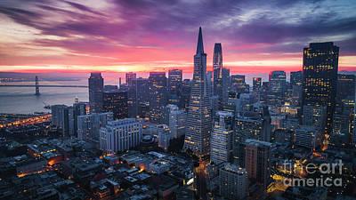 Photograph - San Francisco Skyline at Sunrise by Heyengel