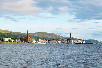 Popstar And Musician Paintings Royalty Free Images - Scottish Town of largs Looking Across the Bay to the Town before Sunset Royalty-Free Image by Jim McDowall