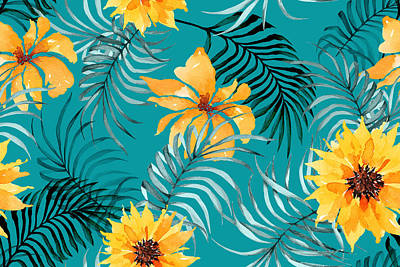 Royalty-Free and Rights-Managed Images - Seamless pattern of sunflower and palm leaves painted with watercolors on green background vintage style. Hand drawn floral pattern illustration.  by Julien