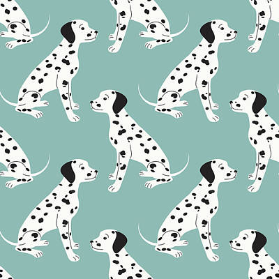 Royalty-Free and Rights-Managed Images - Seamless pattern with cute dalmatian by Julien