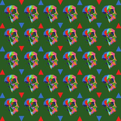 Royalty-Free and Rights-Managed Images - Skull Pattern Wpap Style Dark Green Background by Ahmad Nusyirwan