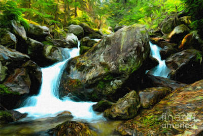 Namaste With Pixels Royalty Free Images - Small waterfall stream in the forest Royalty-Free Image by Wdnet Studio